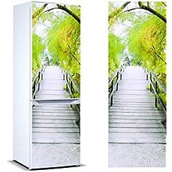 Vinyle adhésif pour les Réfrigérateurs Passerelle Végétation Verte | Stickers Autocollants Adhésifs Frigo | Adhésif Résistant et facile d'appliquer |Étiquette Adhésive Décorative d'une conception élégante | de 185 x 60 cm