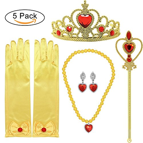 Prinzessin Dress up Zubehör 5 Stück Geschenk Set für Belle Crown Szepter Halskette Ohrringe Handschuhe Gelb