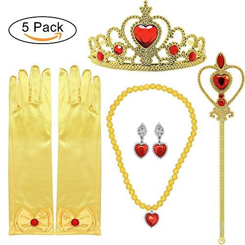 Princess Dress up Accessoires 5 Stück Geschenkset für Belle Crown Zepter Halskette Ohrringe Handschuhe (In Bear Kostüm Bear)