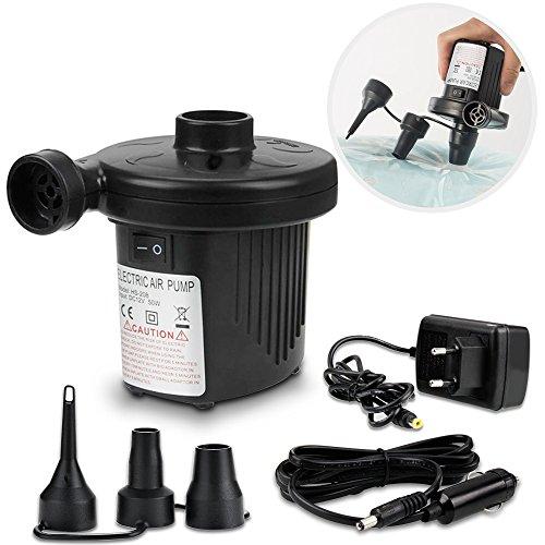 omitium Elektrische Luftpumpe, 2 in 1 Elektropumpe Power Pump Multifunktion Luftpumpe Auto Elektropumpe 3 Aufsätze für Camping Luftmatratzen, Planschbecken, Aufblähungen und Deflates, DC12V/AC220V