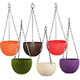 "Antier 6"" Woven Design Hanging Euro Basket Planters Indoor Outdoor Hanging Flower Plant Pot with Hanging Chain (Pack of 6)"