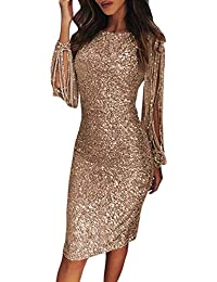 FIYOTE Robe Femme Couleur Unie Robe Soirée Manches Longues à Franges Robe Cocktail Col Rond Robe Moulante à Paillettes Sexy Slim S/M/L/XL