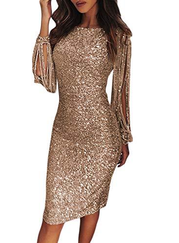 FIYOTE Robe Femme Robe Cocktail au Genou Robe Soirée Manches Longues à Franges Robe Moulante à Paillettes Col Rond Couleur Unie Nude S(EU36-38)