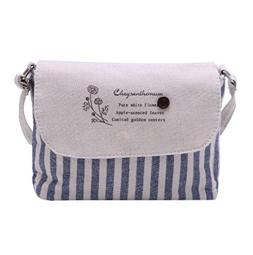 Dairyshop Borsa a tracolla delle donne da donna Borsa del messaggero Floral Pattern Borsa preferita Crossbody (Light Khaki) Blu scuro