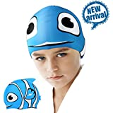 Kids Swim Caps, ZIONOR Manatee C1 Mini Silicone Swimming Caps for Youth Kids with Cute Animal Cartoon Elastic Designed Non-toxic, Allergy-free Waterproof, Eco-friendly for Kids Children Boys Girls