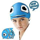 Badekappe, zionor Manati C1Mini Premium Silikon Wasserdicht Badekappe für Kurz Mitte lang Haar mit für Kinder Kinder Kinder Jungen Mädchen Schwimmen Hüte Blue Shark (Children Swim Cap)