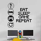 Wall4stickers Eat Sleep Play Repeat Choisissez Votre pièce d'enfant Vinyle Mural Décalque Garderie des Gamins Joueurs Art Adolescent vidéo Jeu Mural