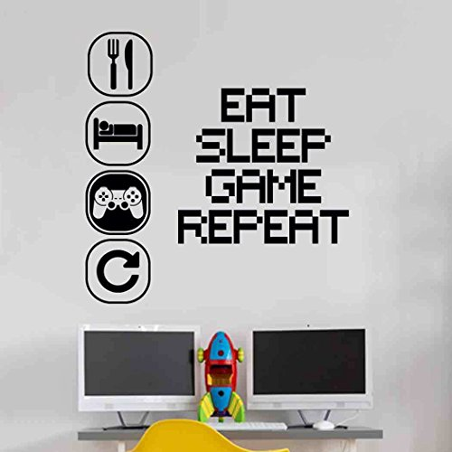 Eat Sleep Play Kinderzimmer Wandaufkleber Mural Vinyl Decal Kindergarten Kinder Gamer Kunst Teenager Video Spiel Wandbild (Verpassen Maschine)