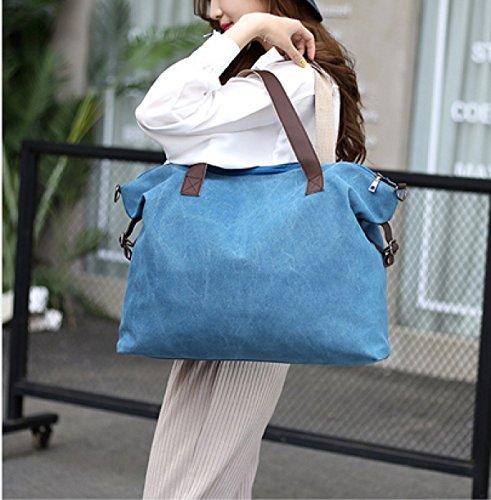 LAIDAYE Damen-große Beutel-Segeltuch-Kurierbeutel Beiläufige Beutel-Spielraum-Beuteldamen-Schulterbeutel-Handtasche Blue