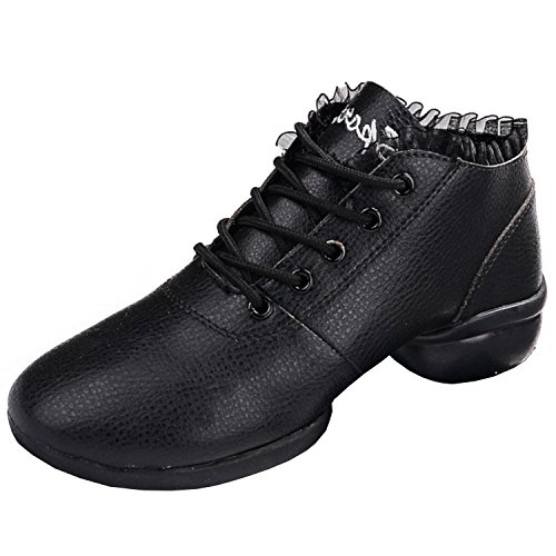 Oasap Women's Fashion Ruffle Trim Soft Sole Dance Shoes Black