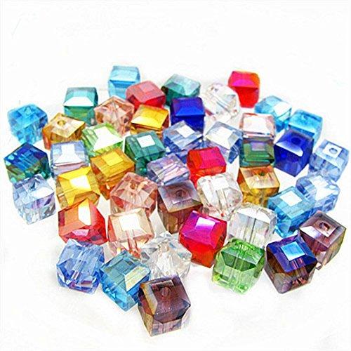 ILOVEDIY 6mm Steinperlen Glasperlen Handwerk Quadratisch Perlen für Mädchen (Farbe gemischt)
