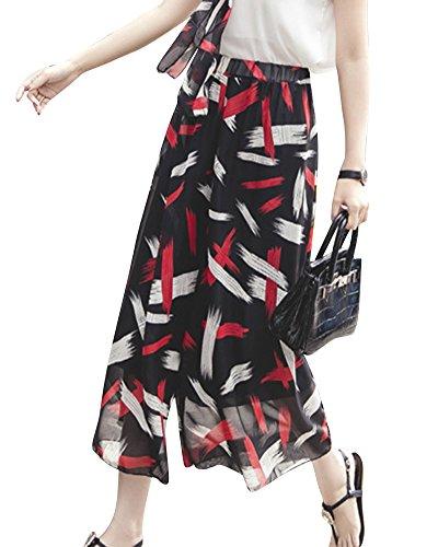 Damen Weite Hosen Leichte Sommerhose Bedruckte Freizeithose Boho Style Mit Gürtel 16 M (Hose Bedruckte 16)