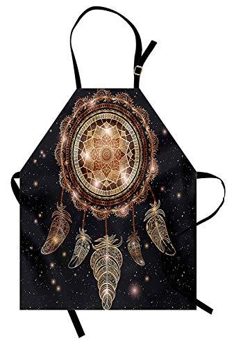 Mandala-Schürze, Ureinwohner-Dreamcatcher-Motiv Magic Feathers Hippie-Design auf sternenklarem Hintergrund, Unisex-Küchenschürze mit verstellbarem Hals zum Kochen Backen Gartenarbeit, ()