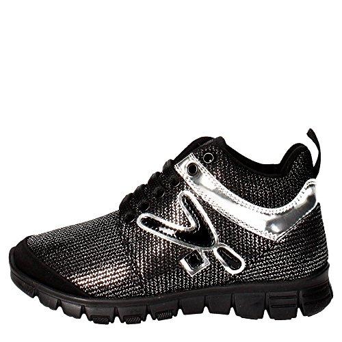 Snappy 408.30 Sneakers Bambina Nylon Nero/argento Nero/argento 36