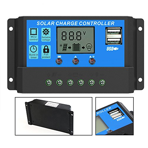 ALLPOWERS 20A Solarladeregler 12V / 24V Intelligenz USB Teil Solar Panel Regler mit USB Port Display