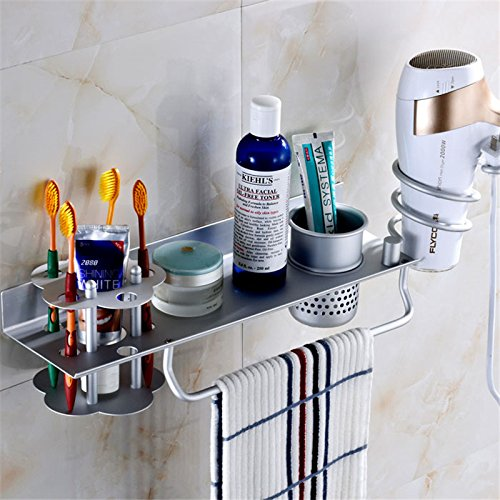 MBYW moderner Handtuchhalter Badhandtuchhalter Haarständer Badezimmer Multifunktionsgestell Zahnpasta Zahnbürstenhalter Handtuchhalter Aluminiumlegierung Materialgröße Siehe Detail
