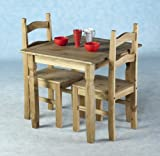 Home Discount Corona Dining Set 2 Seater, Solid Pine Wood, Rustic Wax Finish, With 2 Chairs