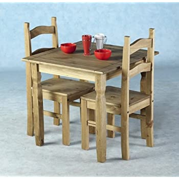 dining table with 2 chairs. home discount corona dining set 2 seater, solid pine wood, rustic wax finish, table with chairs