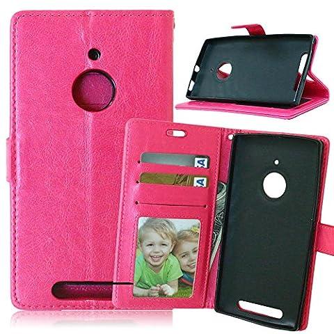 Meet de pour Nokia Lumia 830 Housse étui coque Case Cover smart flip cuir Case à rabat Coque de Protection en Cuir Flip Livre en Cuir Avec des Cartes de Crédit Slot et Fonction Support Rose