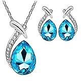 #2: Om Jewells Fashion Jewellery Rhodium Plated Elegant Austrian Crystal Tear Drop Pendant Necklace Set for Girls and Women PS1000726BLU