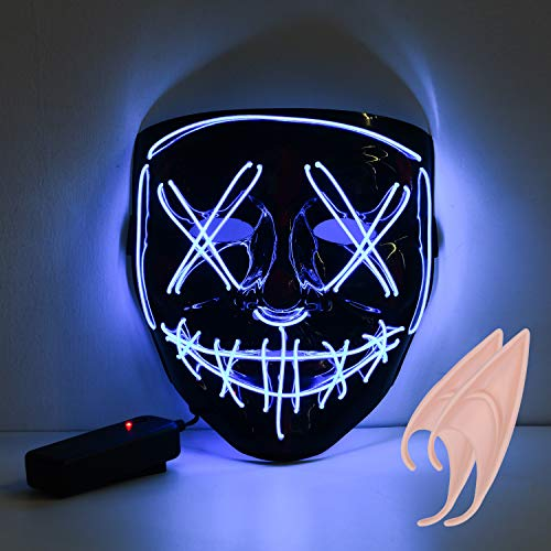 URAQT Halloween LED Maschere, LED Leggero Light Up Maschera, Divertente Maschere per Festival Party , Costume Cosplay, Carnevale, Halloween Accessori, Maschera Smorfia