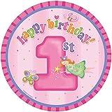 Essbarer Tortenaufleger 1. Geburtstag Mädchen * 1. Happy Birthday * zum ersten Mädchen-Kindergeburtstag