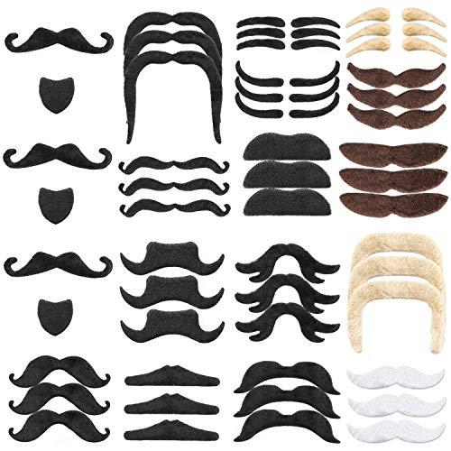 Hifot 48 Stücke Gefälschte Schnurrbärte, Selbstklebende Neuheit Gefälschte Bart für Kostüm Maskerade Halloween Party Kostüm Leistung (Bärte Und Schnurrbärte Kostüm)
