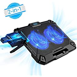Refroidisseur PC Portable 12 à 17 Pouces,Mbuynow Refroidisseur Ordinateur Portable 2 en 1 Silencieux Rapidement avec Mini Ventilateur Externe