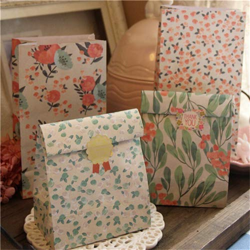 Kraft Bag - 4pcs 23 13cm Flowers Craft Paper Gift Bag Candy Food Bags With Sticker Party Favors - Bag Bag Birthday Custom Organza Paper Wrapping Artificial Basket Food Bag Gift Candy Bag