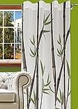 140x245 grün Vorhang Vorhänge Bambus Ösenschal Fensterdekoration Blickdicht Natur