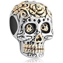 """Fit Pandora Charms - Charm per braccialetto Pandora, in argento 925 placcato oro, modello scheletro """"Dia De Los Muertos"""""""