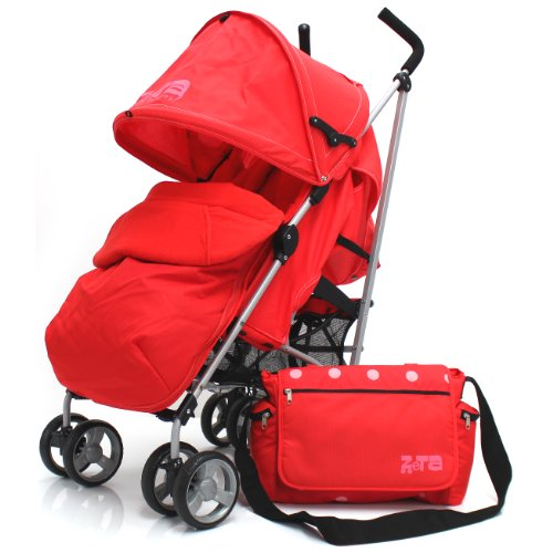 Zeta Vooom Warm Red Complete + Changing Bag With Footmuff Head Support And Rain Cover