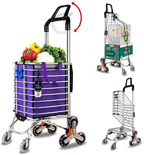 GBX Lebensmittelgeschäft Wäscherei Dienstprogramm Faltbare Einkaufsmultifunktions-Bewegliche Hand Trucks, Aluminiumlegierung 8-Rad Treppensteigen, Belastbarkeit 50 Kg, Haken-Gepäck-Seil-Aufbewahrungs