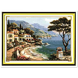 Landscape Cross Stitch Patterns Free Harbor of Love DIY Handmade Needlework Cross Stitch Set Cross Stitch Dmc,14CT White Canvas