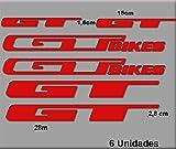 PEGATINAS GT BIKES R70 STICKERS AUFKLEBER DECALS AUTOCOLLANTS ADESIVI (ROJO)