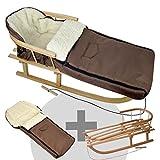 BambiniWelt24 BAMBINIWELT Kombi-Angebot Holz-Schlitten mit Rückenlehne & Zugseil + universaler Winterfußsack (108cm), auch geeignet für Babyschale, Kinderwagen, Buggy, aus Wolle Uni braun