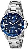 Stuhrling Original Men's 664.02 Regatta Aquadiver 664 Quartz Watch with Blue Dial Analogue Display and Silver Stainless Steel Bracelet