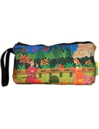 Eco Corner - Indian Art Garden - Pouch - Small - 100% Cotton / Washable / Printed On Both Sides / Zip Closure...