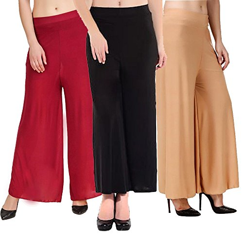 Lili's Malai Lycra Palazzo Pant For Women's Combo (Pack of 3) Skin,Black,Maroon...