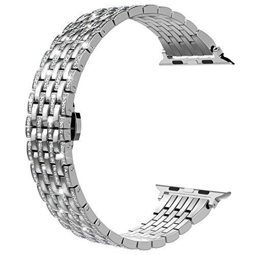Wearlizer für Apple Watch Armband, Edelstahl Metall Ersatzband Uhrenarmband Zubehör mit Strass für Apple Watch Serie 5 4 3 2 1 - Silber 38mm 40mm