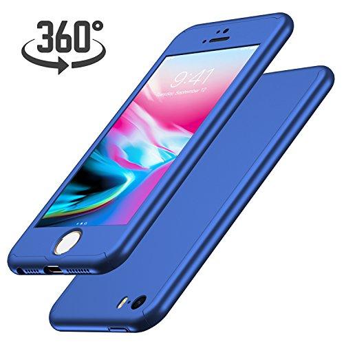 Luckydeer iPhone SE Hülle mit [1x Panzerglas Schutzfolie], Hochwertigem Handyhülle [360 Grad Komplett Schutz], iPhone 5s Hülle 360 Grad [Ultra Dünn] Schale Cover Case Hülle für iPhone (Blau 4,0 Zoll)