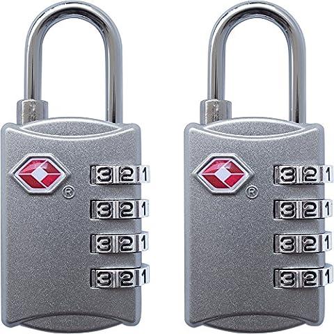 TSA bagages Serrures–Lot de 2–Cadenas à combinaison 4chiffres de voyage pour valises, sacs et accessoires, Silver & Silver