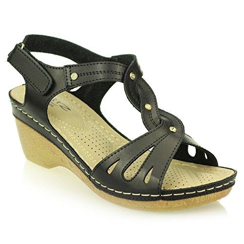 Aarz signore delle donne casuali Comfort zeppa sandalo Dimensioni (Nero,