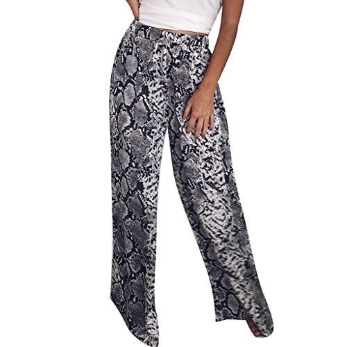DEELIN Mujer Pantalones Salvajes Moda Mujer Cintura Alta Suelta Leopardo Imprimir Casual Pantalones Largos Pantalones De Pierna Ancha