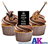 Keep Calm and Carry On Guitare Basse comestibles pour cupcakes col montant (Lot de 12)