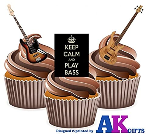 AKGifts Cupcake-Dekoration Keep Calm / Bass,essbar, 12 Stück