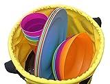 11L Faltbares Waschbecken mit 2 Griffen – Perfekt für Camping, wenn die Platzverfügbarkeit entscheidend ist. Diese beständige und leichtgewichtige Schale kann mit kaltem sowie warmem Wasser aufgefüllt werden, sie behält die Form und steht aufrecht, egal ob voll oder leer. -