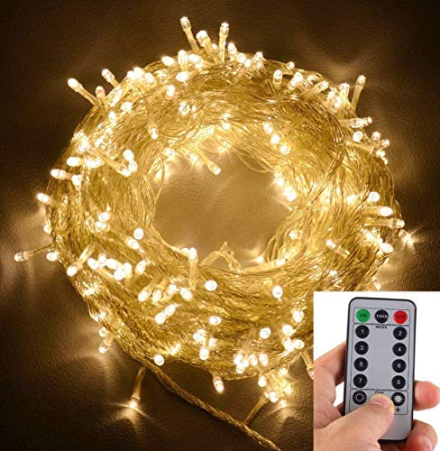 echosari 30m warmes weißes 300 LED Outdoor & Indoor Batterie Lichterkette w/Remote & Timer, wasserdicht (8 Modi, 4 x AA Batterien, dimmbar, klar Kabel)