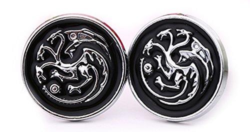 Gemelos con diseño de Juego de tronos y caja de presentación, Targaryen Black, Talla única