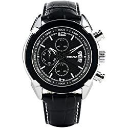YISUAY Mens Quartz Watches Chronograph Black Leather Military Sports Wrist Watch